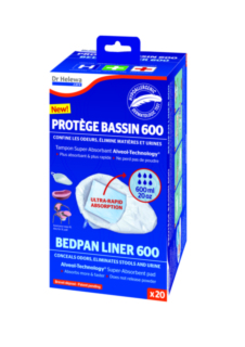 SAC  PROTEGE BASSIN HYPOALLERGENIQUE DR HELEWA AVEC  TAMPON ABSORBANT 600ML (X20)