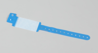 BRACELET D'IDENTIFICATION PVC SANS DEHP ADULTE A RABAT AUTOCOLLANT