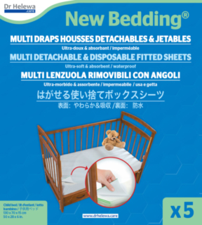 NEWBEDDING® MULTI DETACHABLE & DISPOSABLE FITTED SHEET WATERPROOF 5 LAYERS FOR CHILD-BABY BED SIZE 130X70X15CM